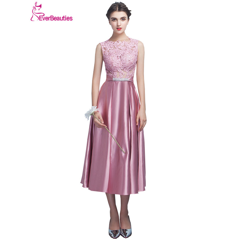 Short   Bridesmaid     Dresses   2018 Satin Lace Appliques   Bridesmaids   Gowns Tea-Length Wedding Guest   Dresses   Vestidos De Madrinha