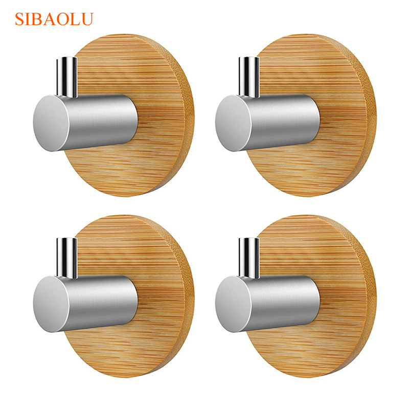 4 Pcs Bamboo Stainless Steel 3m Sticker Wall Clothes Bag