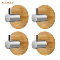 4 PCS Bamboo Stainless Steel 3M Sticker Wall Clothes Bag Key Hook Heavy Duty Door Hook Bathroom Kitchen Towel Hanger