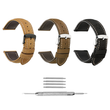 iStrap Genuine Leather Watchbands 18 19 20 21 22 24mm Watch Pin Buckle Band Steel Buckle Strap Wrist Belt Bracelet + Tool недорого