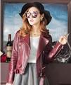 Европейский стиль натуральная кожа куртка женщин короткий параграф овчины мотоциклетная куртка черный красный