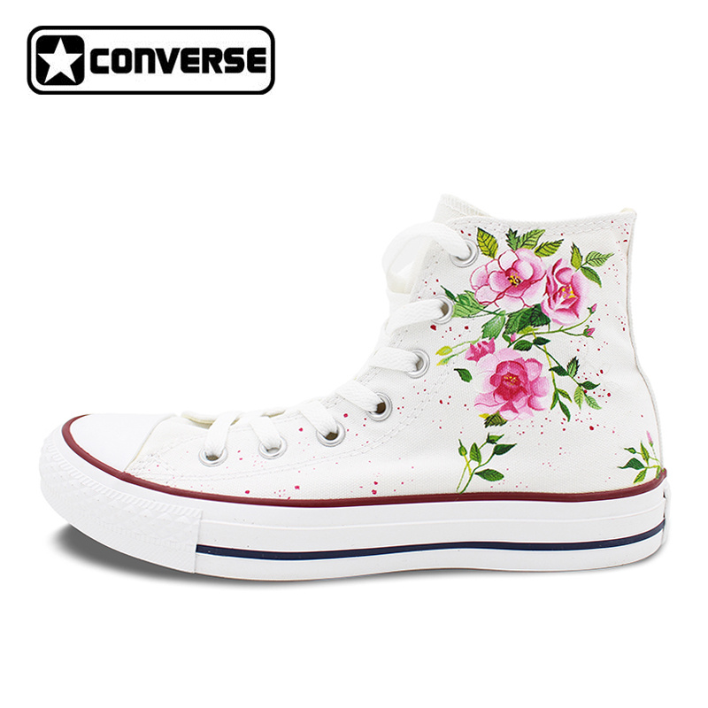 Canvas Shoes Women Men Converse All Star Flower Floral Original Design Hand Painted Shoes High Top Man Woman Sneakers Gifts best price printer parts xp600 printhead for xp600 xp601 xp700 xp701 xp800 xp801 print head