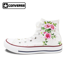 Canvas Shoes Women Men Converse All Star Flower Floral Original Design Hand Painted Shoes High Top