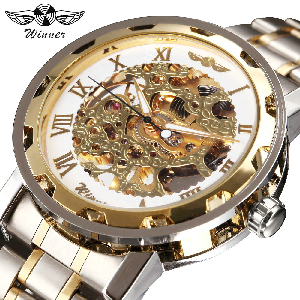 WINNER Golden Watches Men Skeleton Mechanical Watch Stainless Steel Strap Top Brand Luxury T-WINNER Classic Wristwatch 17 COLORs luxury brand golden winner luminous automatic mechanical skeleton dial watch mens stainless steel bracelet band men wristwatch