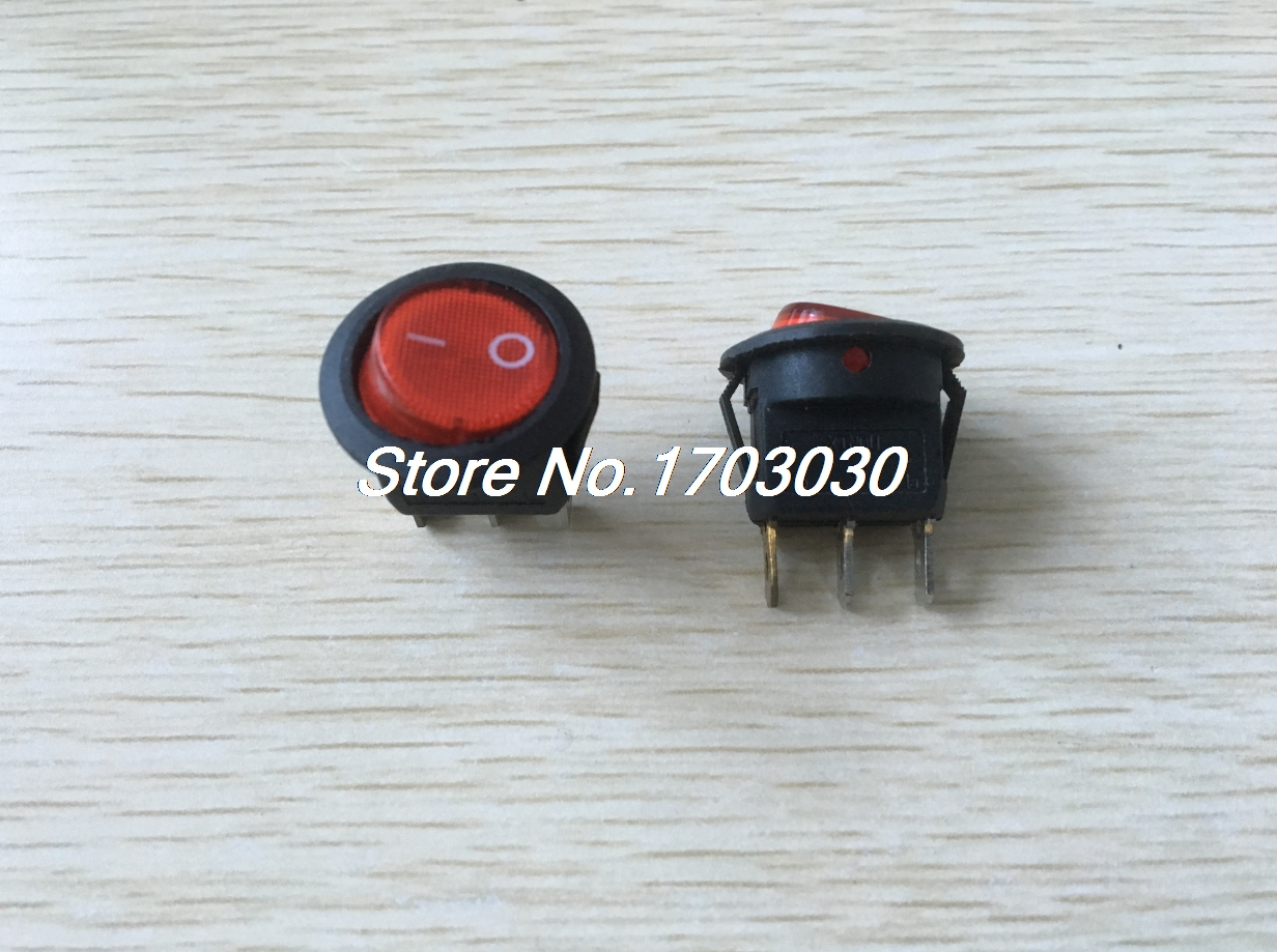 10x Red Light Illuminated ON-OFF SPST Round Rocker Switch 6A/250V 10A/125V AC kcd1 on off 4pin boat car rocker switch 6a 10a 250v 125v ac red yellow green blue button best price