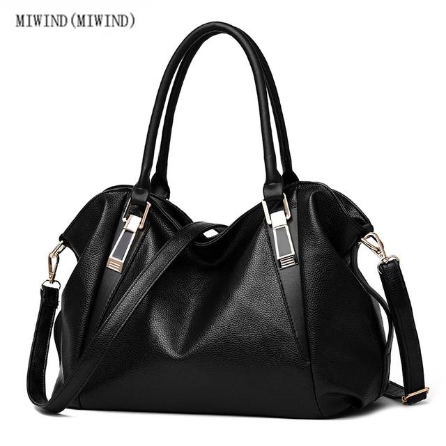 MIWINDPU High Capacity Leisure Solid Color Soft Leather Handbag For Women