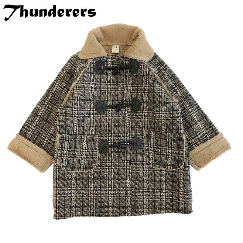 2018 new children's Korean version of the autumn and winter coat in the long section plus fluffy coat coat