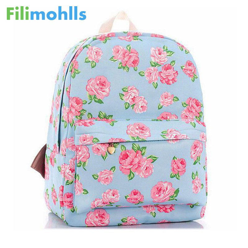 2018 New Printing backpacks Rose floral Cute school bags for women/ teenage girls rucksack laptop Canvas backpack female D10-47 tourit 2016 new canvas printing backpack women school bags for teenage girls cute bookbags vintage laptop backpacks female