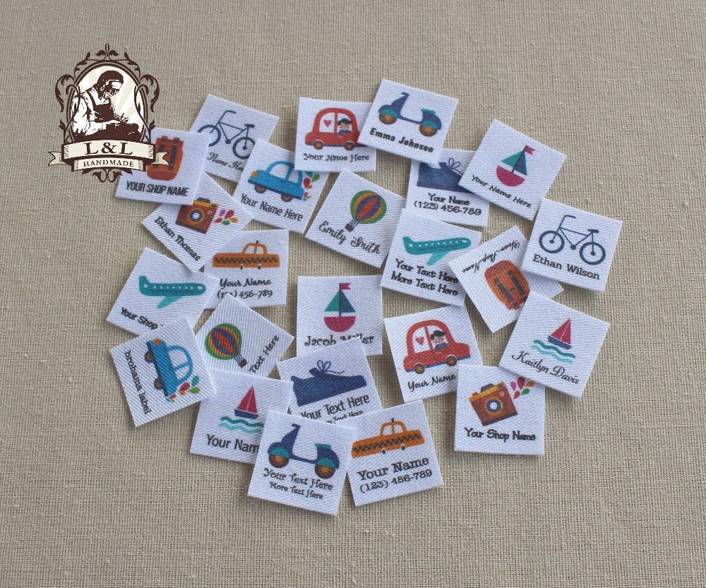96 Custom logo labels,children's clothing tags, Name Tags, white organic cotton labels, Travel and vehicle, iron on