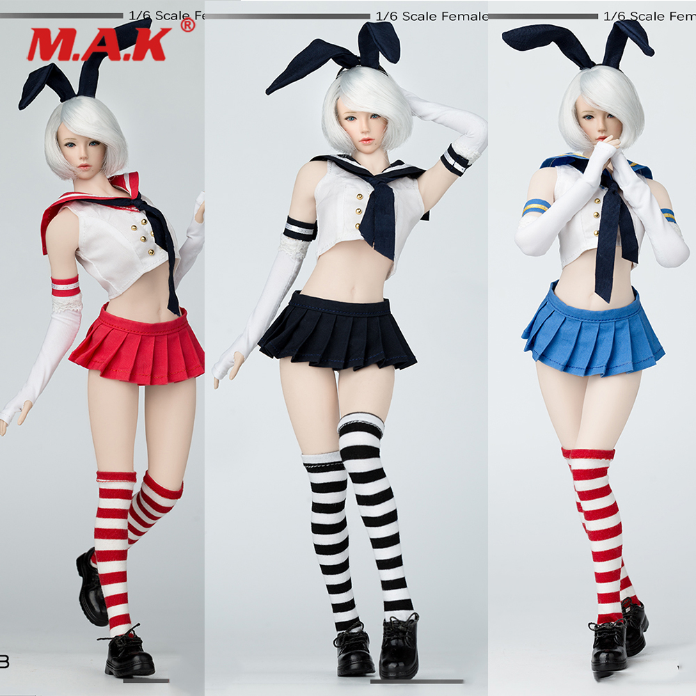MM013 Cosplay 4 Colors 1/6 Sexy Female Figure Clothing Two-dimensional Sailor Suit Rabbit Ear for 12inches Action Figure SeamlesMM013 Cosplay 4 Colors 1/6 Sexy Female Figure Clothing Two-dimensional Sailor Suit Rabbit Ear for 12inches Action Figure Seamles