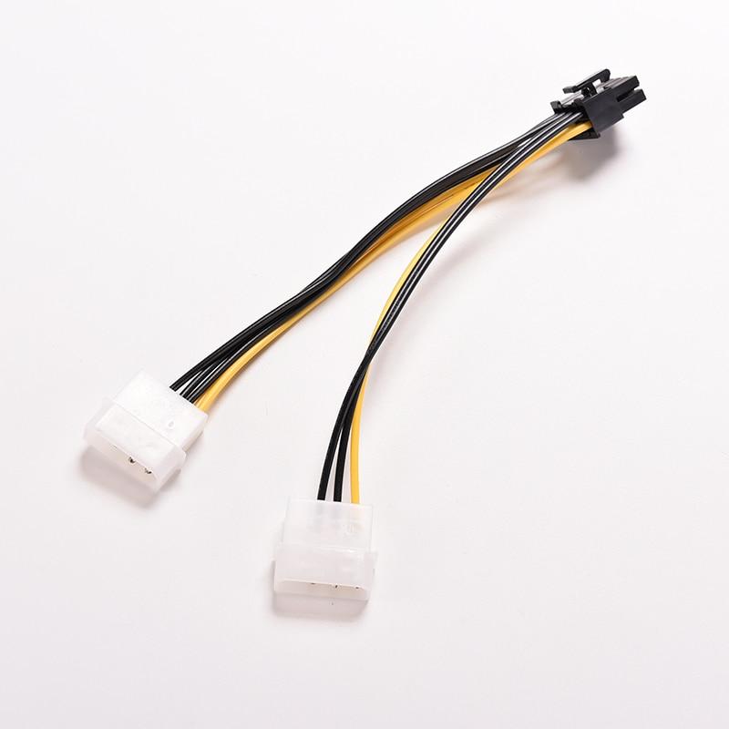 16cm 8 Pin PCI Express Male To Dual LP4 4Pin Molex IDE PCI E graphic Video