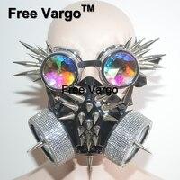 Burning Man Streampunk голографическая маска со стразами заклепки очки Rave Хэллоуин сценические костюмы косплэй фестиваль одежда наряд