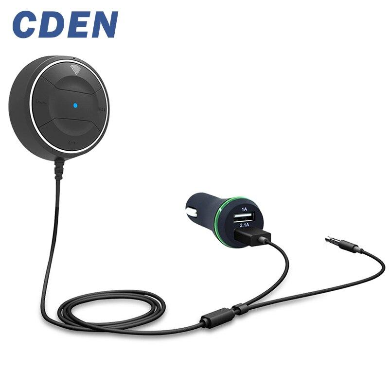 CDEN Sans Fil Voiture Bluetooth V4.0 Récepteur Double USB Chargeur De Voiture Kit NFC AUX 3.5mm Audio Parler Musique Adaptateur Mains Libres Mic