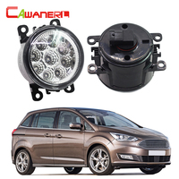 Cawanerl 2 Pieces Car Styling Fog Light DRL Daytime Running Light LED Lamp 12V White Blue
