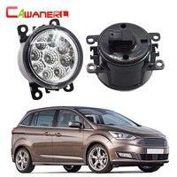 Cawanerl 2 Pieces Car Styling Fog Light DRL Daytime Running Light LED Lamp 12V White Blue