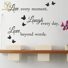 цена на Live Laugh Love Wall Quote Stickers Removable Vinyl Decal Art Home Decoration For Living Room Butterfly Mural Interior 3Q08