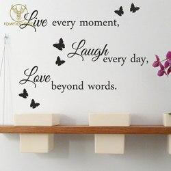 Na żywo śmiać się miłość naklejki ścienne cytat wymienny winylowa tablica naścienna sztuki dekoracji wnętrz do salonu motyl ścienne wnętrze 3Q08