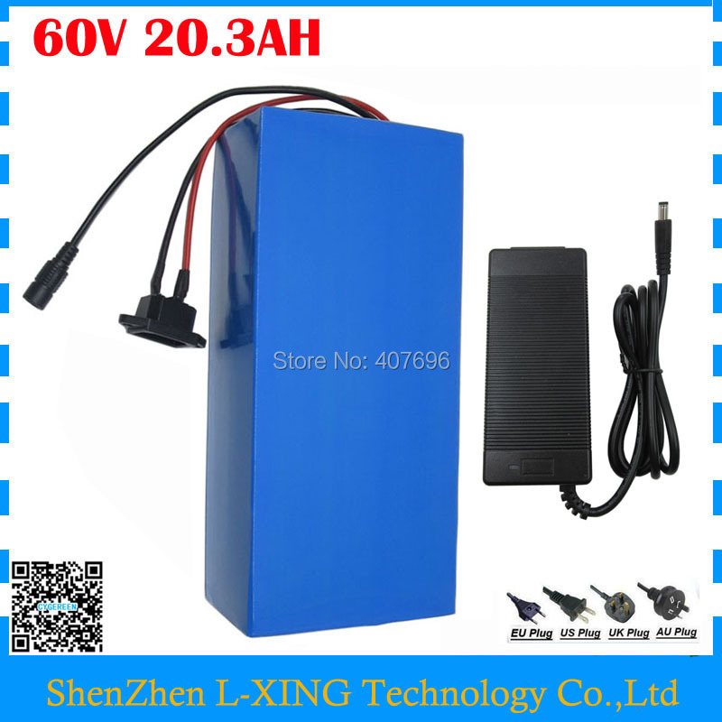 Powerful 3000W 60V 20AH Li-ion battery 60V 20.3AH electric bicycle batteria use INR 29E 2900mah cell with 50A BMS 2A Charger