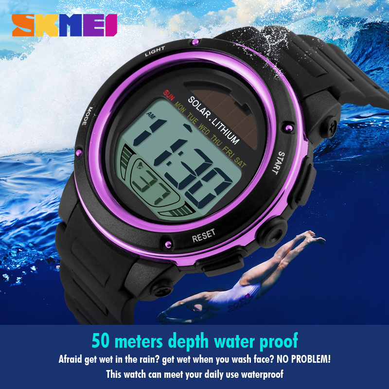 NEW SKMEI Brand Watch Solar Energy Men Electronic Sports Watches Multifunctional Outdoor Water Resistant Digital Wristwatches