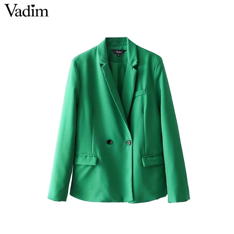 Vadim women elegant Notched collar solid blazer pockets long sleeve outerwear office lady work wear baisc chic tops CT1642