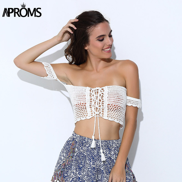 93904d70ec1c9 Aproms Sexy Knitted Crochet White Crop Tops Bikini Beachwear 90s Girls  Casual Lace Up Off Shoulder Bikini Bra Tank Top Cropped