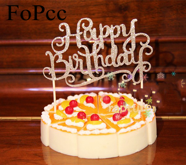 Garden Wedding Cake: Glitter Gold Silver Happy Birthday Cake Toppers Happy