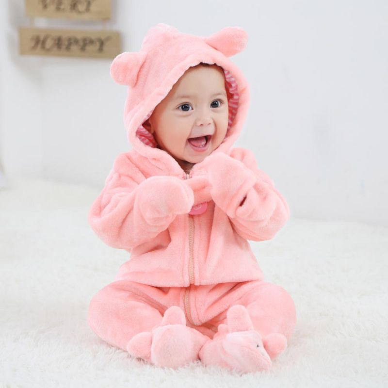HTB16XJmevWG3KVjSZPcq6zkbXXaK Baby Rompers Winter Warm Longsleeve Coral Fleece Newborn Baby Boy Girl Clothes Infant Jumpsuit Animal Overall Pajamas