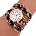 Novo relógio de Forma Quente Flor de couro mulheres relógios Weave Enrole Rivet rolej Pulseira de Couro relógios relógio de pulso de quartzo
