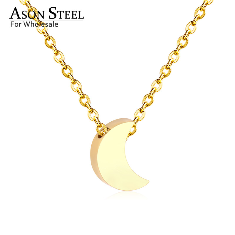 45cm Top 316L Stainless Steel Heart Moon Star CrossPendant Long Link Chains Necklaces Set Gold For Women Choker Necklace Jewelry 9