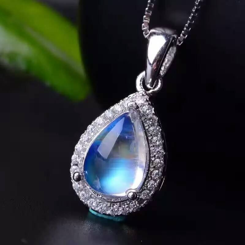 Natural Blue Moonstone Pendants 925 Sterling Silver Natural Gem Water Droplets Pendants Classic
