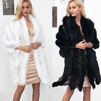 Party Lace Ptchwork Faux Fur Coat Elegant Capes 2018 Imitation Mink Fur Warm Jacket Long Shawl Cloak Cardigan Overcoat Outwear