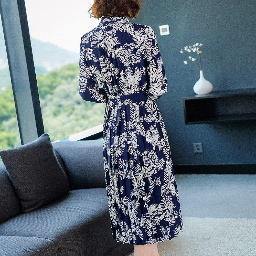 Longues Automne Longue Qualité Manches down Haute Chemise Mode Vintage Plissée Femmes Col Imprimer 2018 Européenne Printemps Robe Turn pqwZUdU