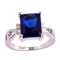 lingmei Wholesale New Emerald Cut Sapphire Quartz & White Topaz 925 Silver Ring Size 6 7 8 9 10 11 Jewelry For Women Free Ship