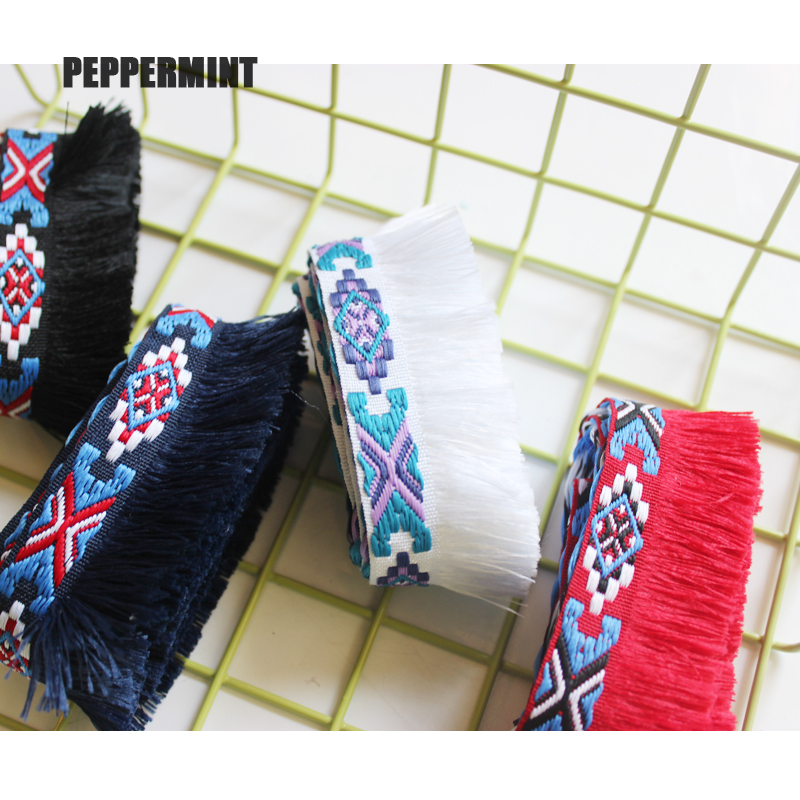 1yard 35mm Ethnic Fringe Lace Trim EmbroideryTassel Trimming Ribbon Sewing Latin Dress Stage Garment Curtain Decorative