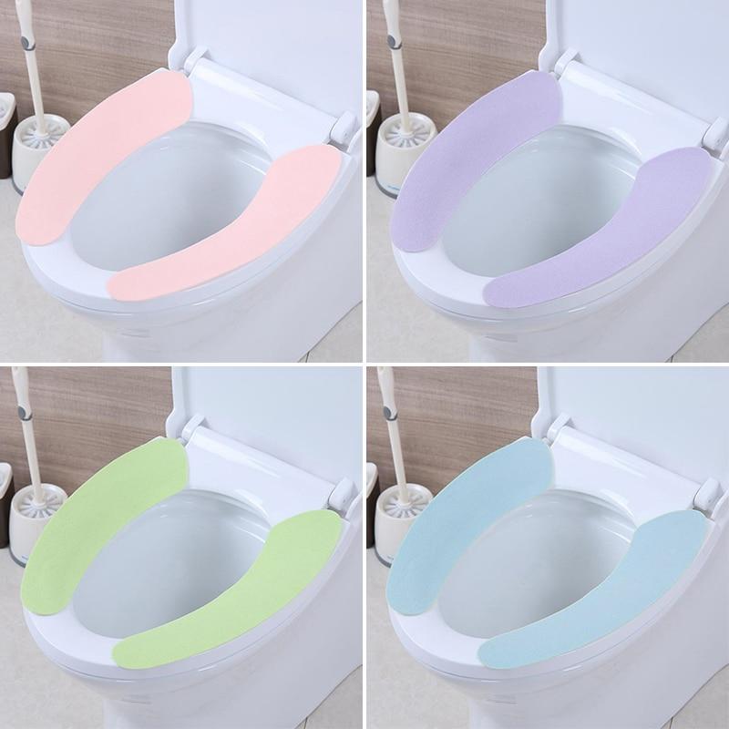 Wholesale Soft Comfortable Artificial Fiber Washable Bathroom Toilet Seat Cover Mat Lid Closestool Cloth Random toilet seat