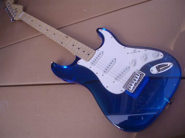 Free Shipping STR Electric Guitar Made Of Organic Glass In Blue Transparent Top Quality a100312 made in nature organic super berry fusion 24oz with optional 5 free sample sticks of true citrus lemonade