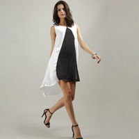 White Black Patchwork Summer Sundress For Women Beach Tunic Loose Chiffon Dress Off Shoulder Rockabilly Mori