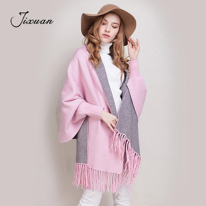 2018 luxe marque cachemire Pashmina femmes hiver écharpe femme gland Plaid Outwear mode manches Ponchos Capes de haute qualité