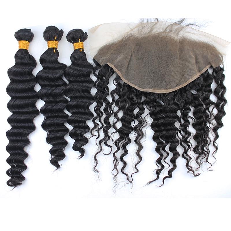 Человеческих волос Связки с кружевом Фронтальная Бразильский человеческих волос глубокая волна расширения 13x6 кружева фронтальной с ребен