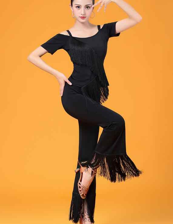 c643af91e4528 Modal costume training dress performance wear tassel fringe Latin dance  trousers for women/female,