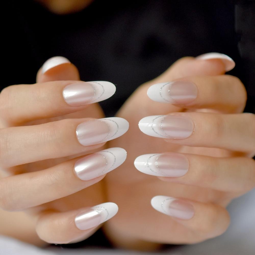 Fashion French False Nails Small Round Head Fake Nail Full Cover Nail Tips Salon Manicure