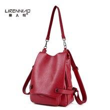 Lirenniao Высокое качество Натуральная кожа женщины рюкзак для девочек школьные сумки Мода Леди Топ-ручка рюкзак известных брендов Bagpack