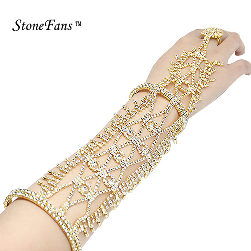 StoneFans Rhinestone Statement Jewellery For Women Bracelet Gold Color 2017 Cuff Bracelet Blanks Australia Crystal Bangles Lady
