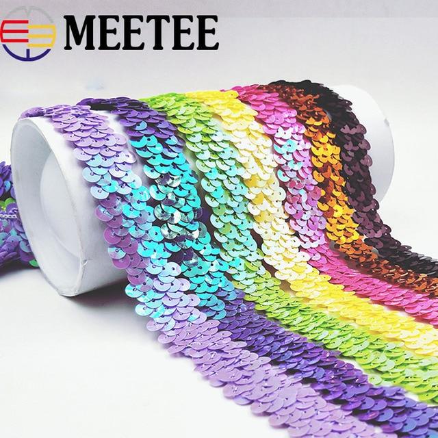 10 yardas Meetee 2cm lentejuelas encaje cinta oro plata elástico encaje ajuste tela elástica baile vestido DIY costura accesorios
