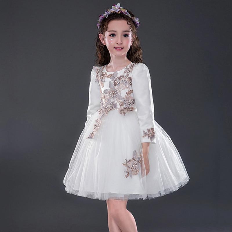 2018 New Moana Wedding Dresses For Little Girls Flower Dress Princess Long Sleeve Vintage Girl Party Kids Vestido Infantil