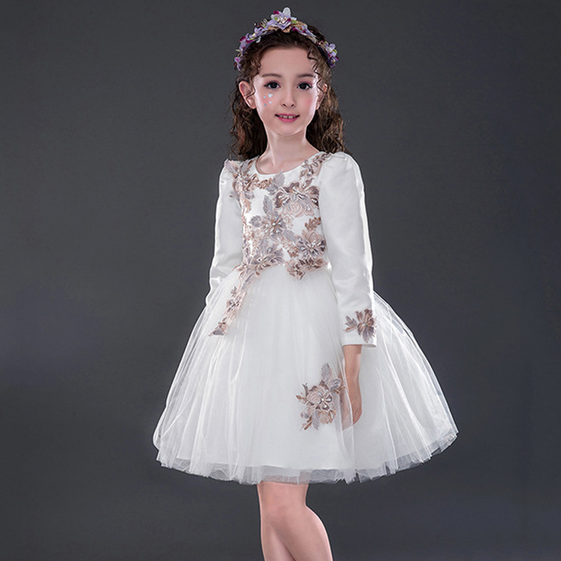 Wedding Dresses For Little Girls Flower Dress Princess Long Sleeve Vintage Girl Dresses Formal Party Kids Girl Christmas Dress summer 2017 new girl dress baby princess dresses flower girls dresses for party and wedding kids children clothing 4 6 8 10 year