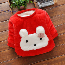 Baby Girls Shirt Keep Warm Children Clothing All-match Girl Long Sleeve Thicken Tops Animal  Appliques Kids For Baby Jacket
