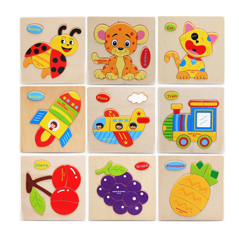 Baby Leker Child Educational Animals / Fruits / Vehicle 3D Puslespill Wooden Toys Multistyle Birthday Gift