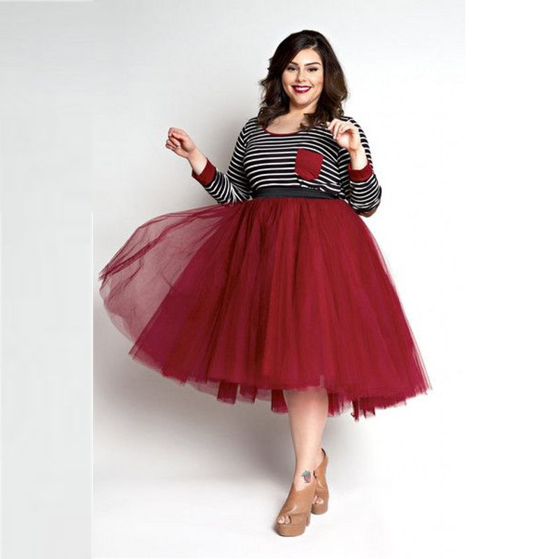 ffba9cbabb5 Red Tulle Skirt Plus Size Skirts Women A Line Knee Length Tutu Skirt 2016  Hot Sale