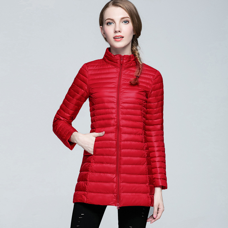 Lady New   Down   Jacket Female Long Sleeve   Down     Coat   with Extra Thin Plus Size   Coats   Plus Size Vertical Collar Long   Coat   B-9603